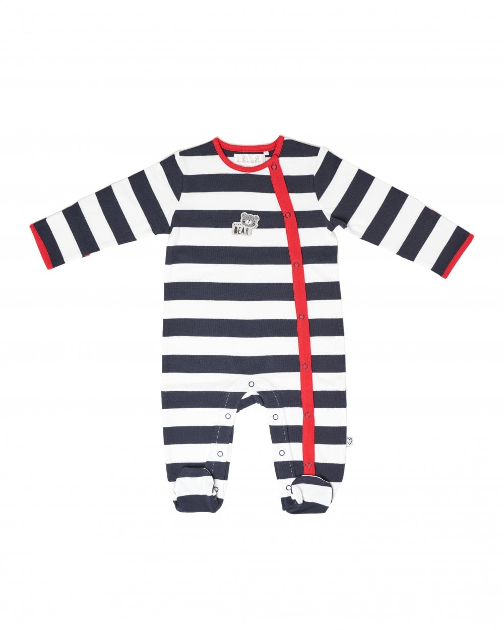 The Essential One Baby Boys Sleepsuit in Grey and Navy Stripe